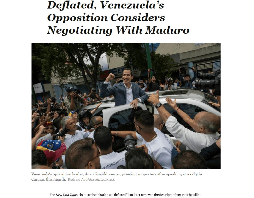 VS twijfelen over hun Venezolaans president Guaidó, laten hem toe te onderhandelen
