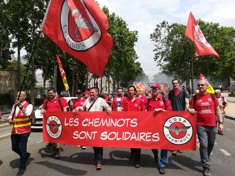 Solidair met de sterke mobilisatie van de Franse spoorcollega's
