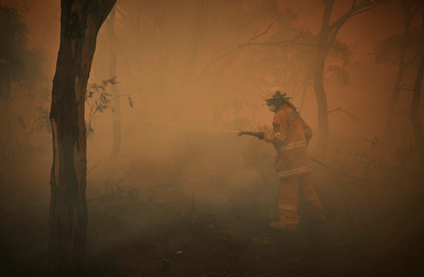 Tony Weston (62), vrijwilliger bij de plattelandsbrandweer, blust bomen die in brand staan aan de rand van het kleine dorpje Numeralla in New South Wales.