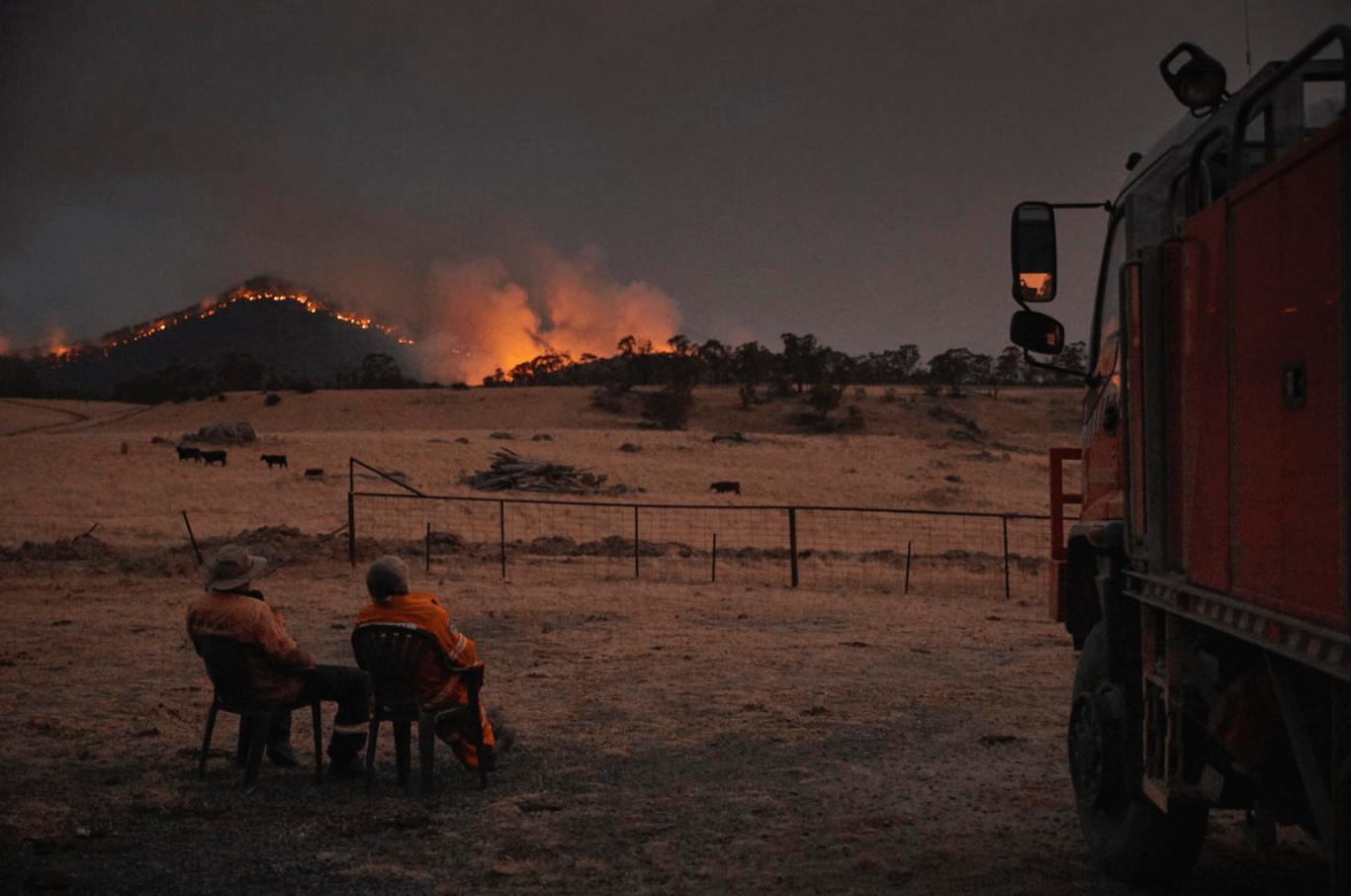 Bosbranden in Snowy Mountains in New South Wales op 11 januari 2020.