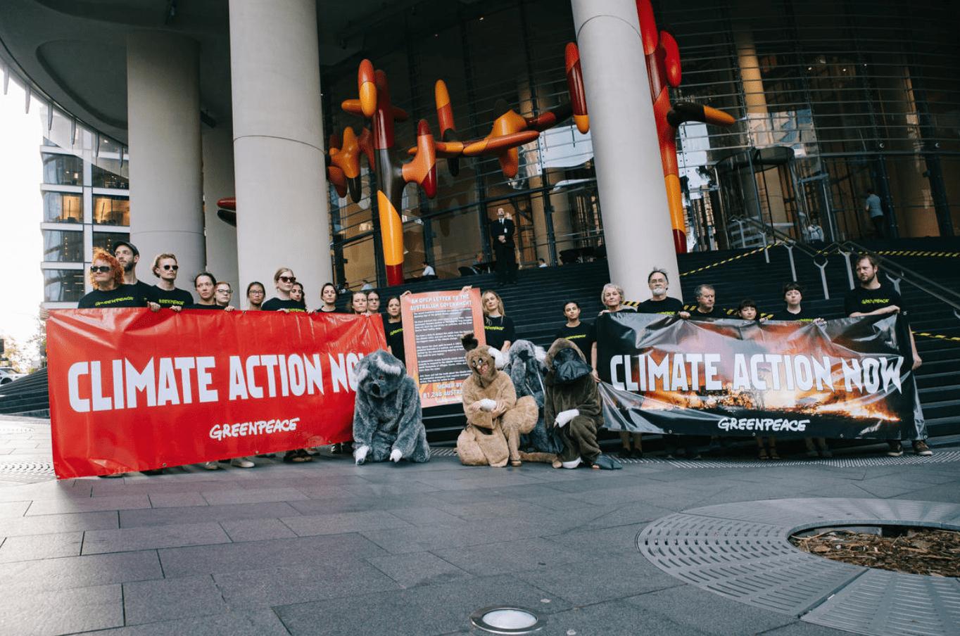 Protestactie tegen bosbranden in Sydney