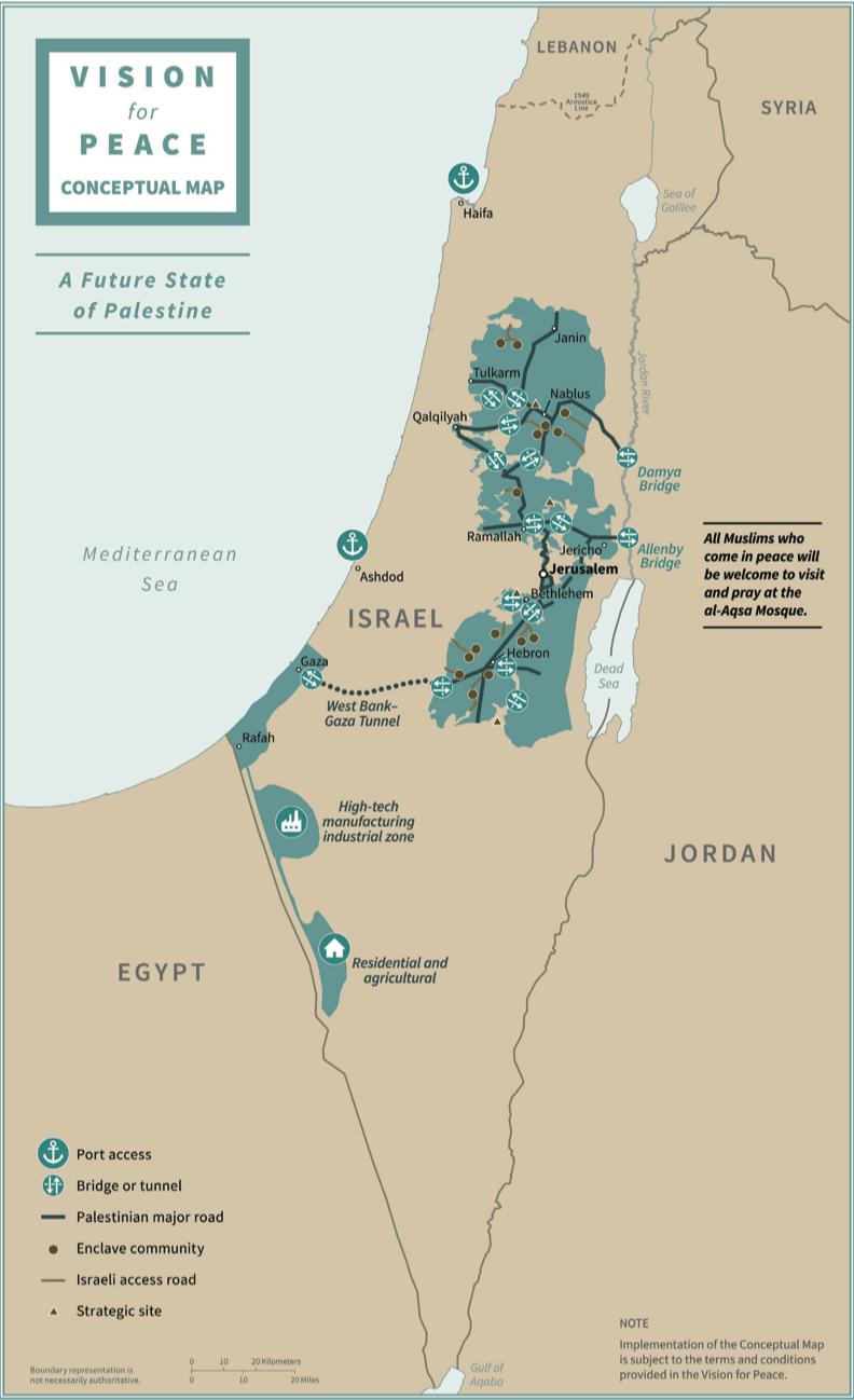 Kaartje met vredesplan van Trump voor Israël Palestina