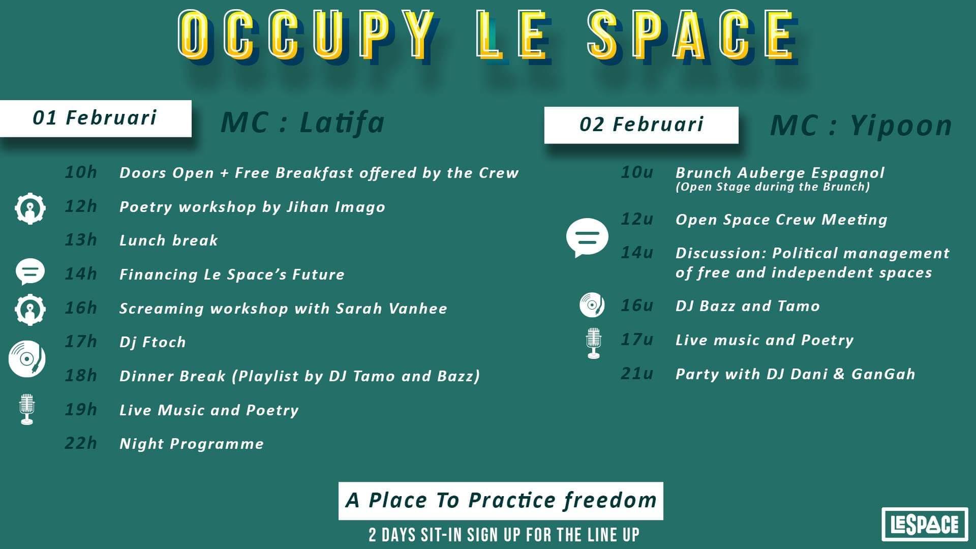 Programma Occupy Le Space zaterdag 1 februari en zondag 2 februari.