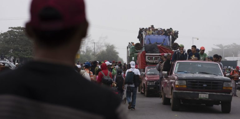 Central American migrants on their way to the USA.