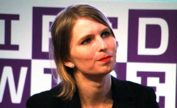 Chelsea Manning tijdens een interview in Milaan, mei 2018.