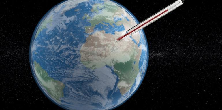 Thermometer meet de temperatuur van de Aarde.