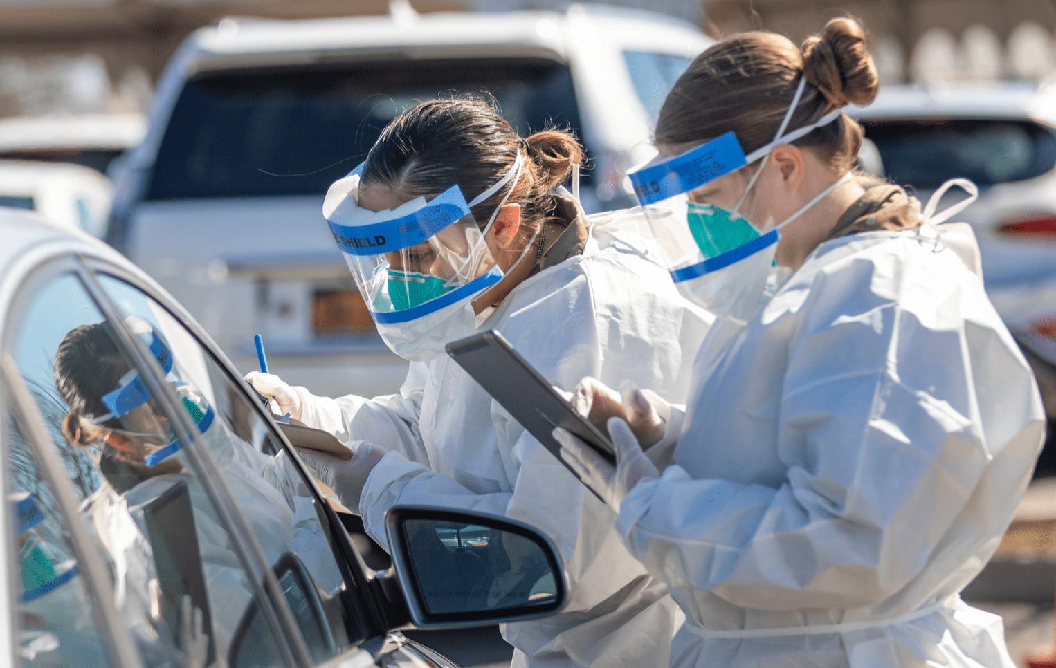 New York National Guard test mensen op besmetting met COVID-19.