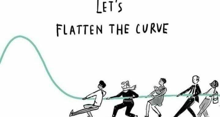 Cartoon van 'Let's flatten the curve'.