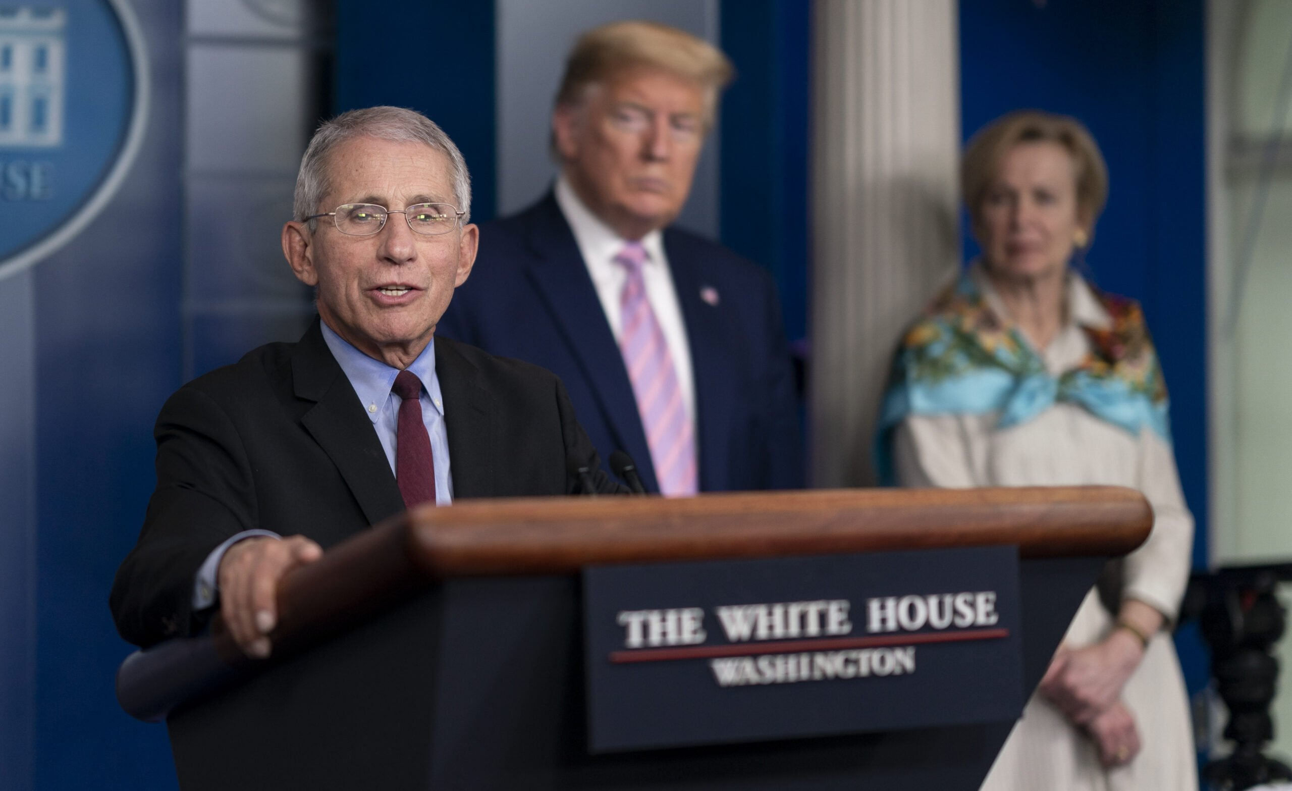 Dr. Anthony S. Fauci delivers remarks at a coronavirus update briefing Saturday, April 4, 2020 (Official White House Photo by Andrea Hanks)
