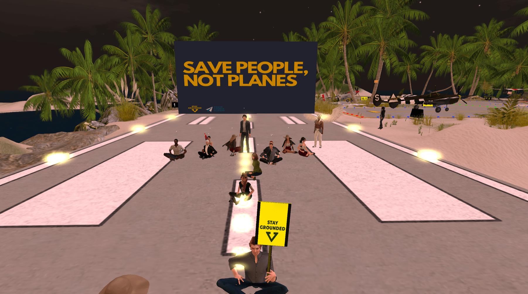 Digitale landingsbaan in Second Life wordt bezet om overheid op te roepen vliegen na coronacrisis te herzien.
