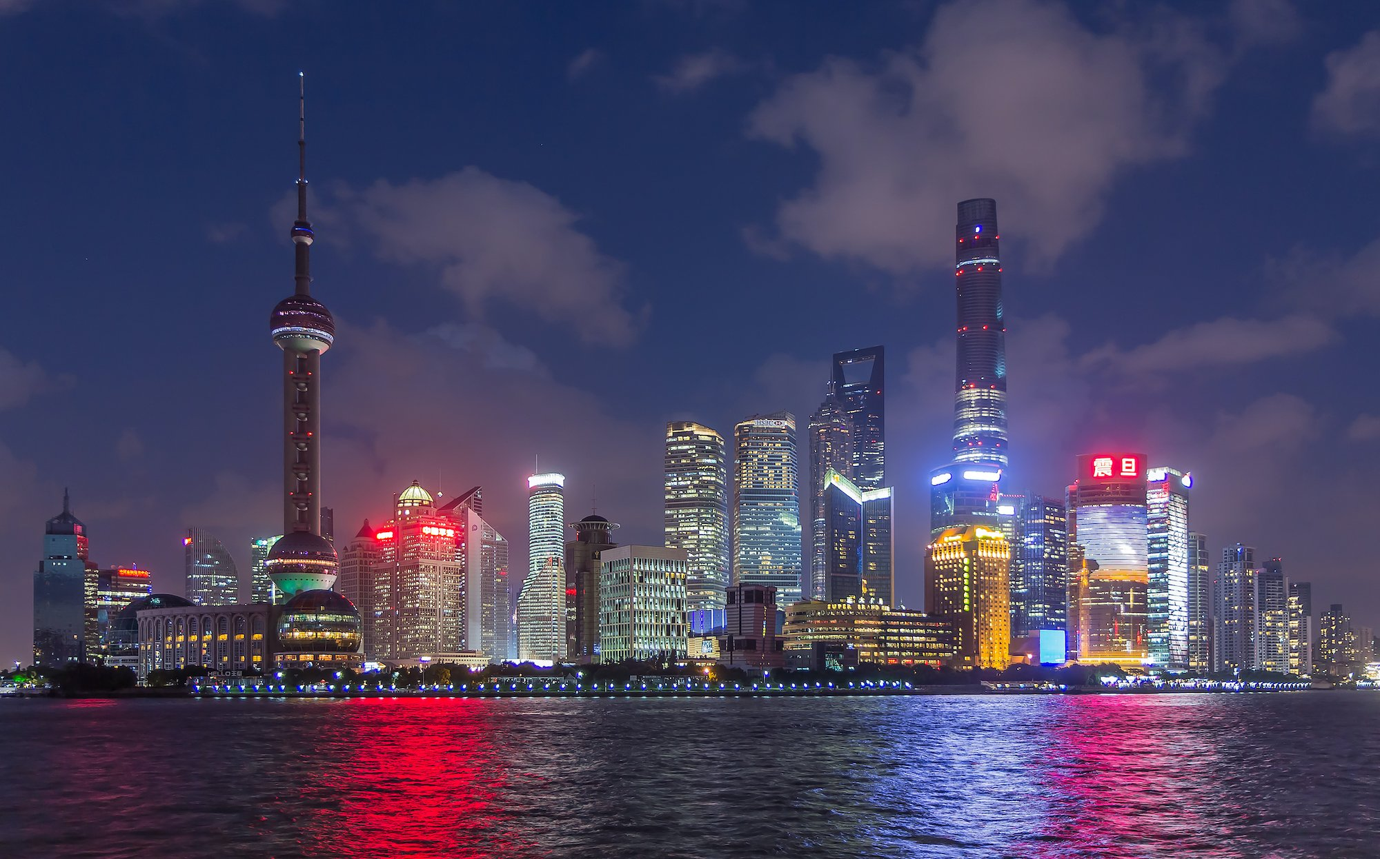 Skyline of Shanghai Pudong at sunset
