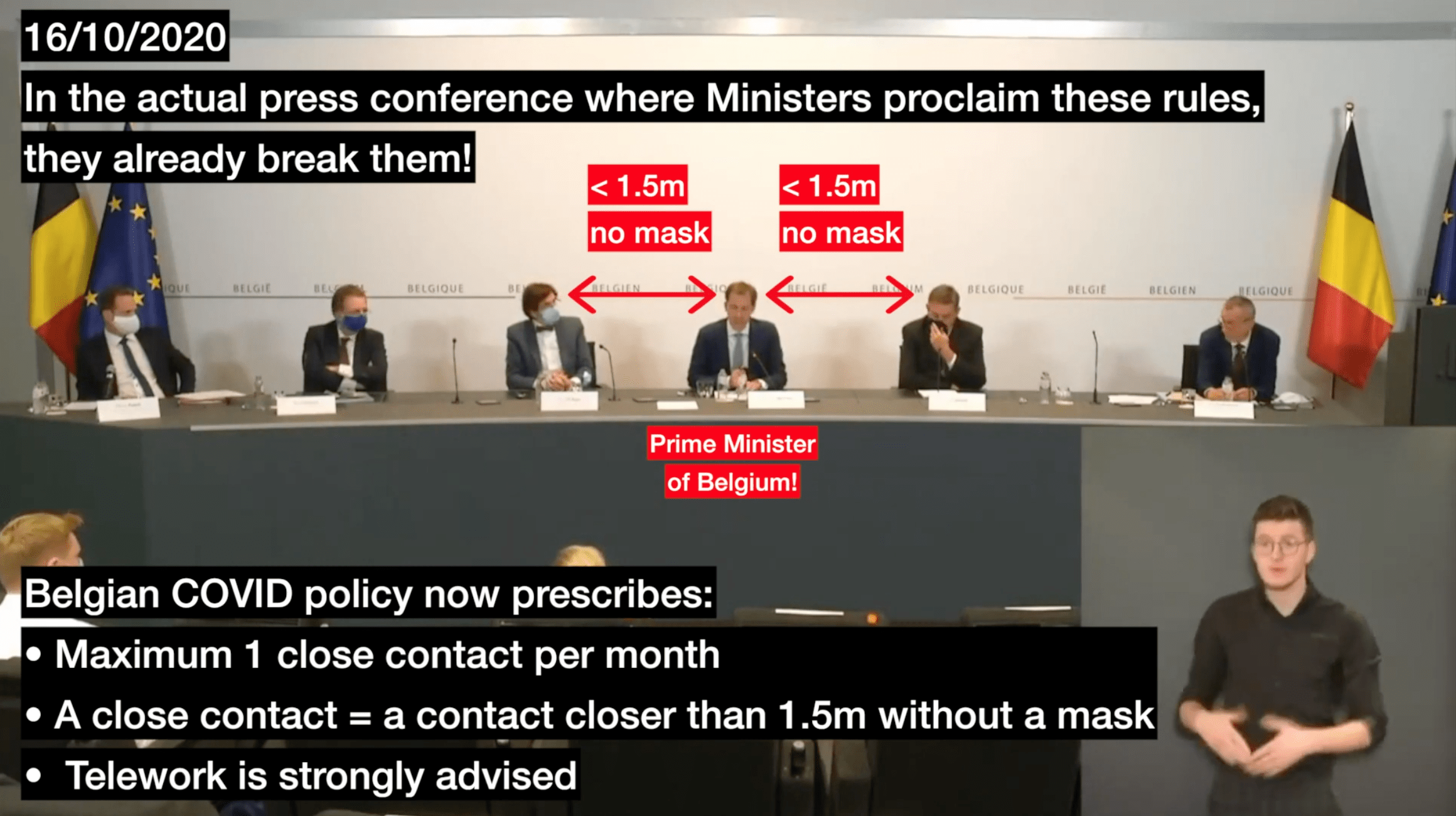 Belgian Prime Minister proclaims COVID rules in Press Conference, and breaks them! 16/10/2020
