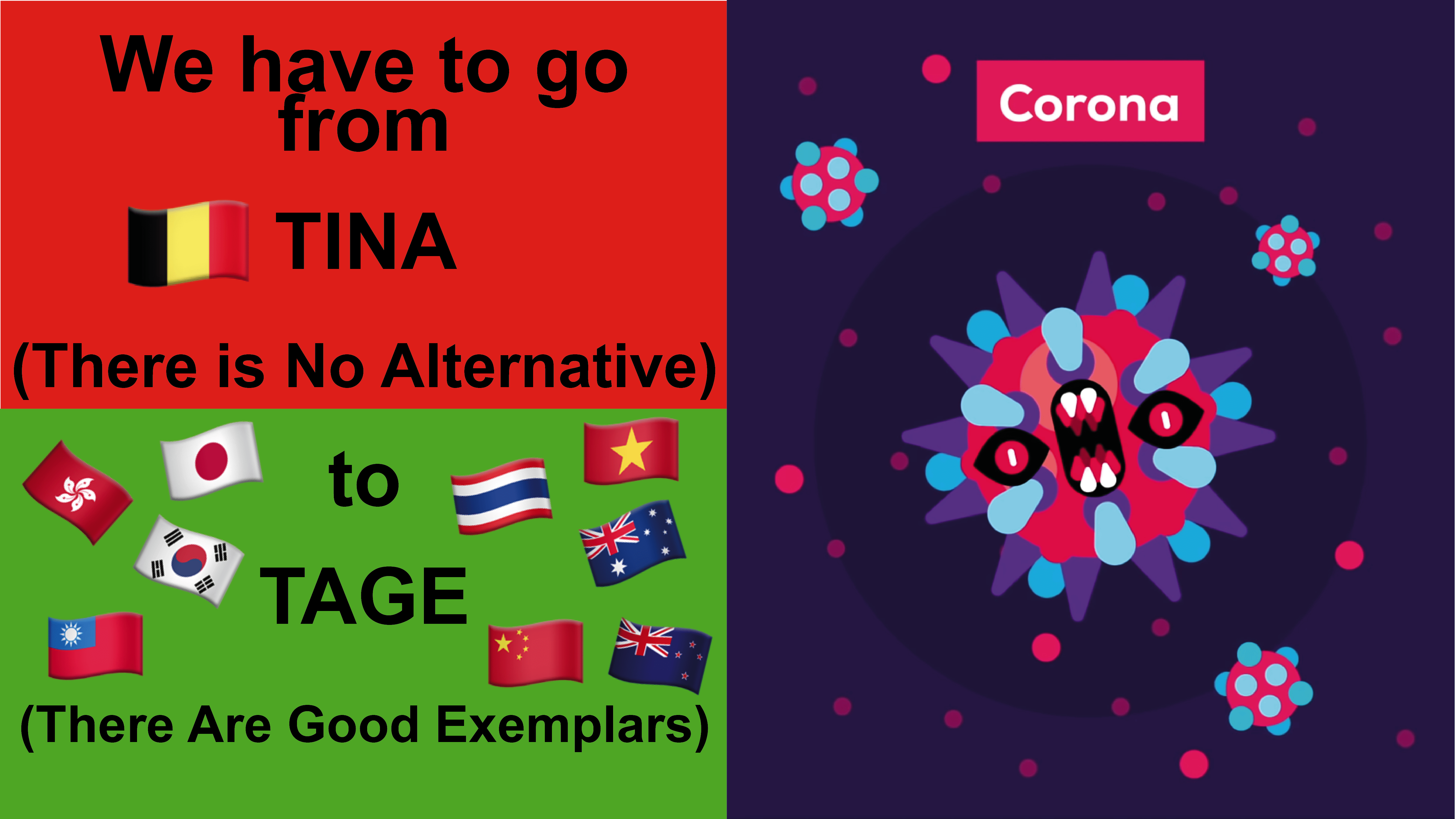 Corona: TINA to TAGE - We moeten gaan van TINA (There Is No Alternative) naar TAGE (There Are Good Exemplars)