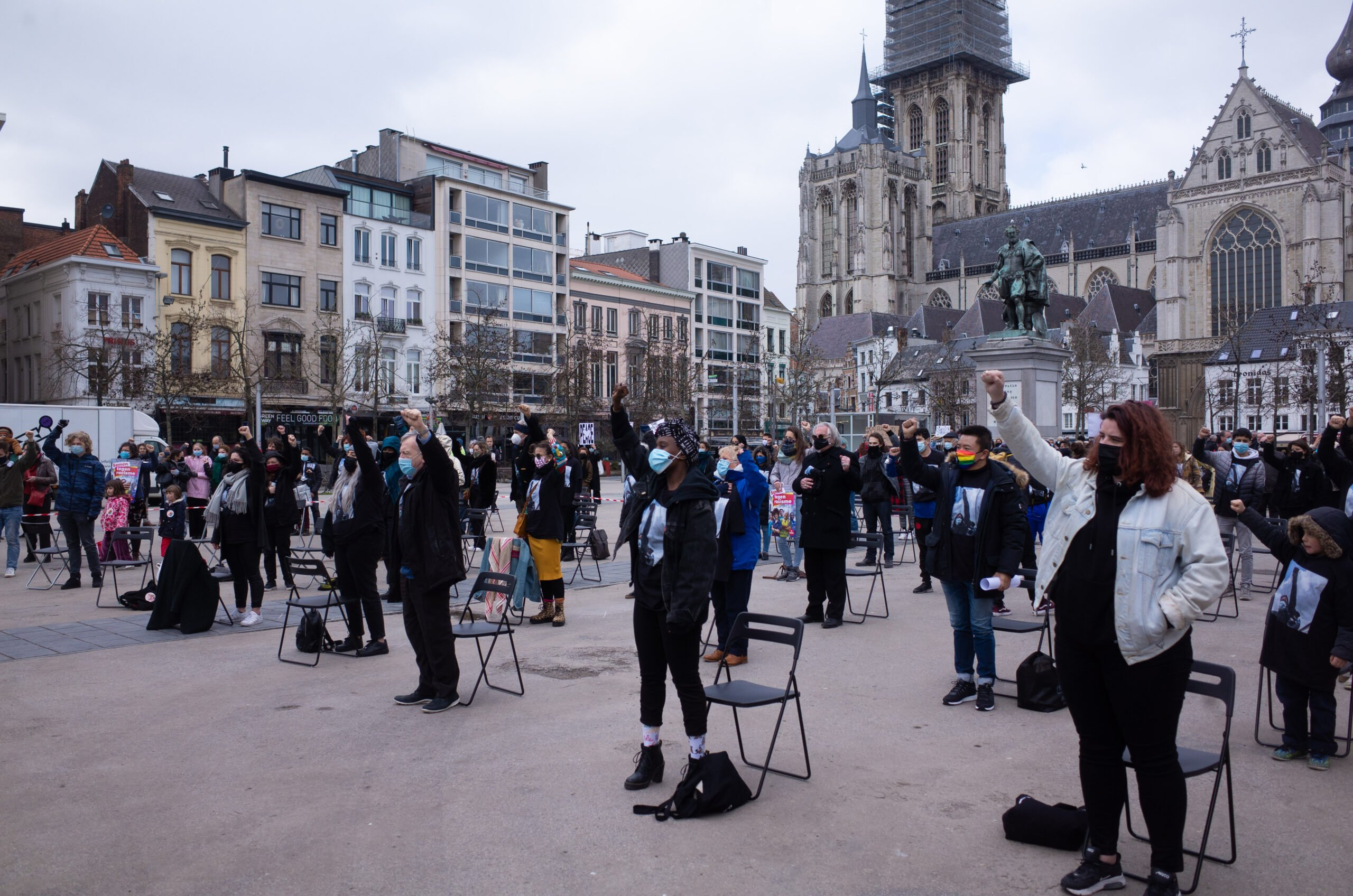 Actie Platform 21/03 internationale dag tegen racisme op de Groenplaats, Antwerpen