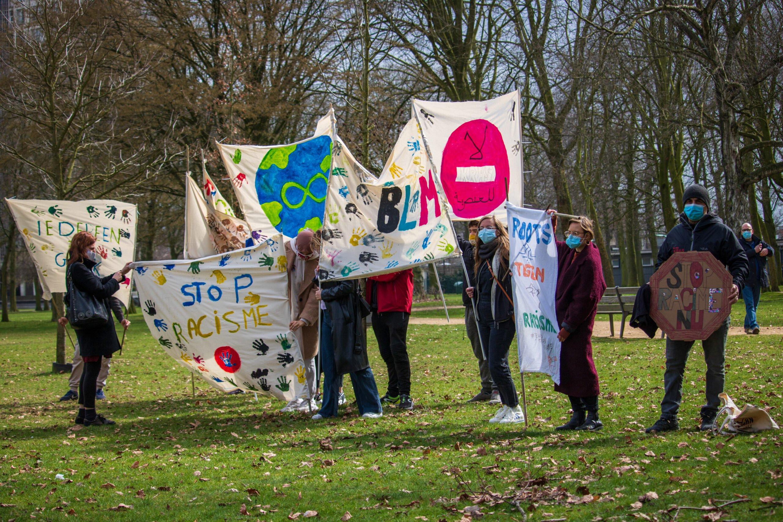Actie Platform 21/03 internationale dag tegen racisme in Kielpark, Antwerpen