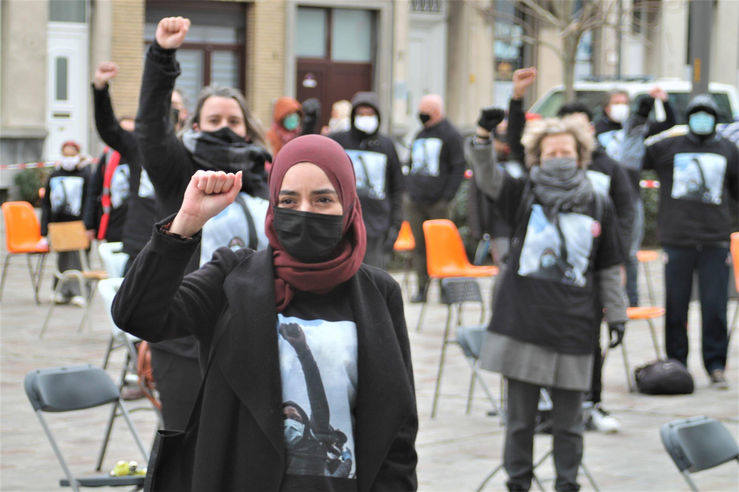 Internationale dag tegen racisme, actie Platform 21/03 op het Moorkensplein, Borgerhout.