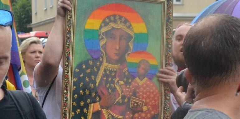 affiche van maagd Maria met regenboogaureool