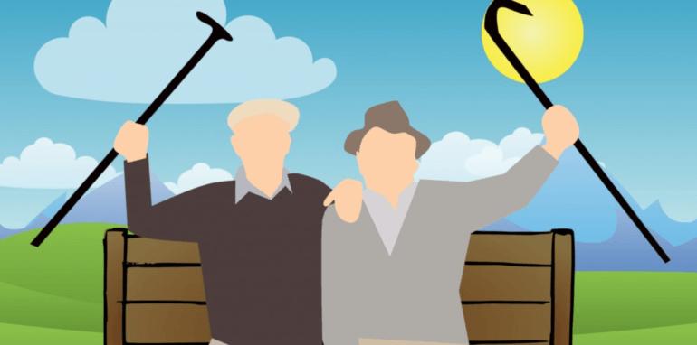 Ouderen op een bankje.